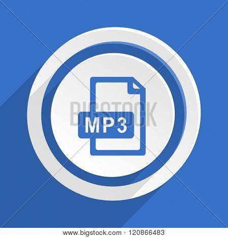 mp3 file blue flat design modern icon