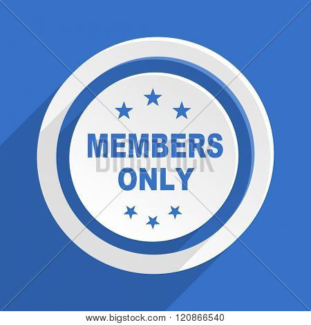 members only blue flat design modern icon