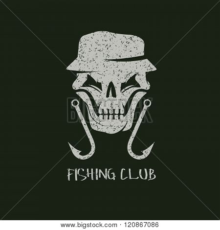 Fishing Club Grunge Emblem With Skull In Panama Hat