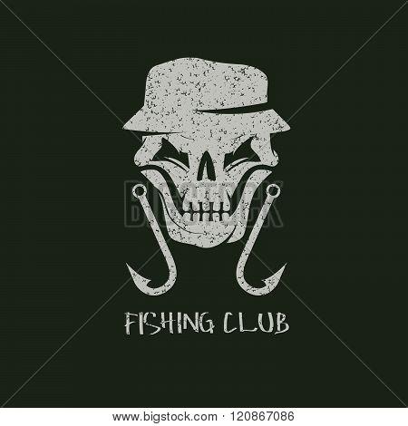 Fishing Club Grunge Emblem With Skull In Panama Hat