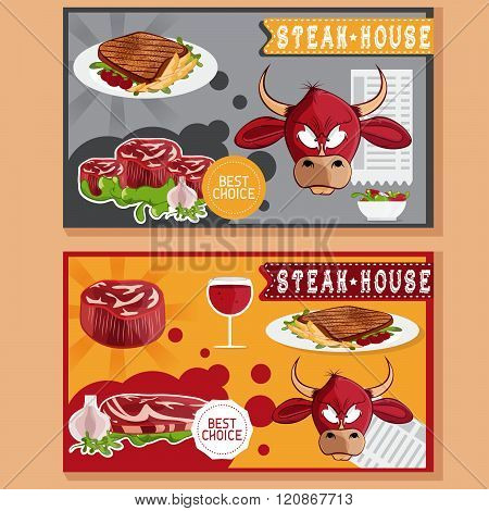 Steak House Vector Illustration With Bull,meat,wine And Salad