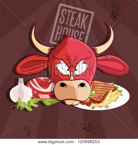 Steak House Vector Illustration With Bull And Meat