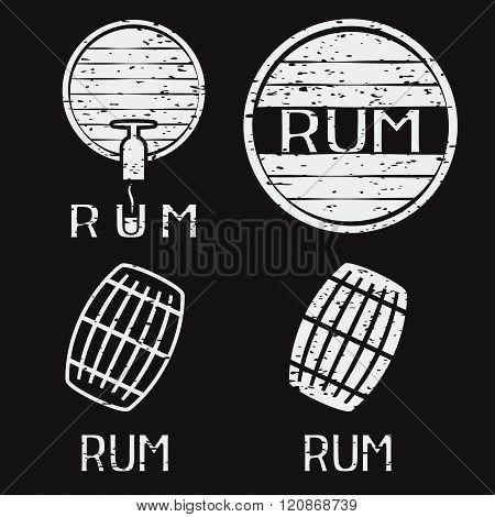 Grunge Vintage Labels Set With Barrels Of Rum
