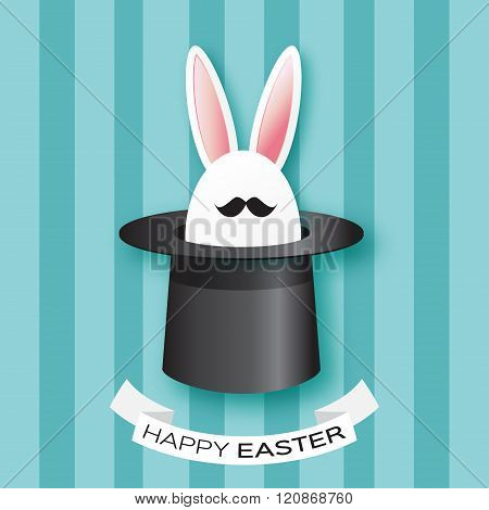 Origami Blue Greeting card with Happy Easter - with white Easter rabbit with black mustache.