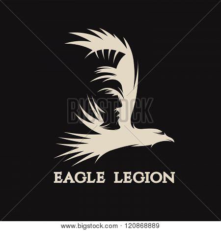 Negative Space Vector Concept Of Warrior Head In Eagle