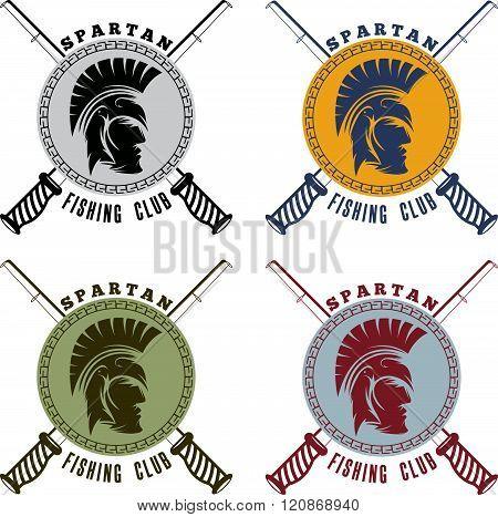 Spartan Fishing Club Labels With Warrior Head
