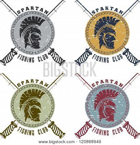 Grunge Spartan Fishing Club Labels With Warrior Head
