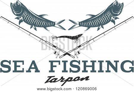 Sea Fish Vintage Vector Illustration With Tarpon Fish