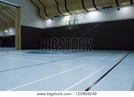 new empty basketball court