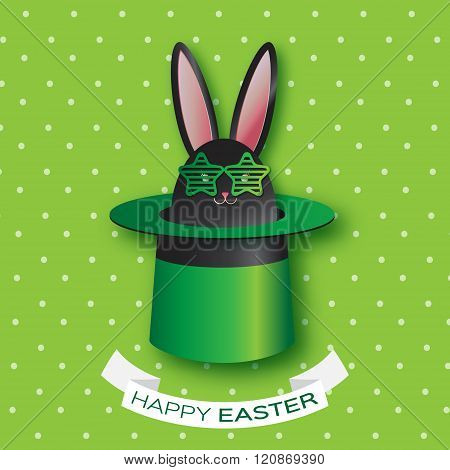 Origami Green Greeting card with Happy Easter - with Black Easter rabbit - green sunglasses, hat.