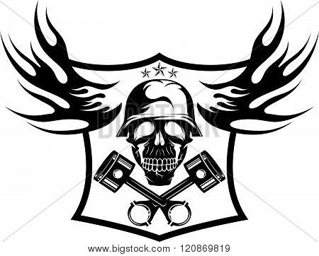 Bikers Theme Emblem With Skull,flames And Pistons