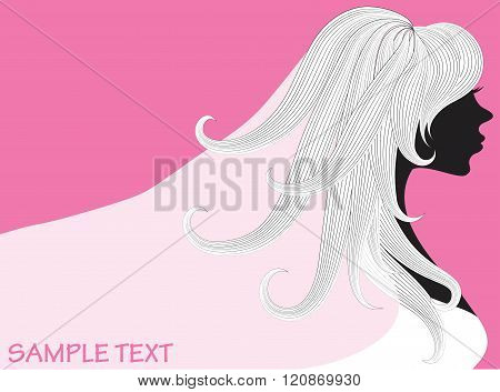 vector drawing of a beautiful woman with long hair and wedding veil can be used as business cards a