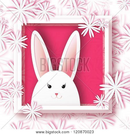 Origami Greeting card with Happy Easter - with white Easter rabbit on floral background.