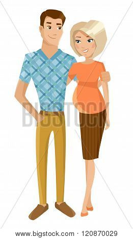 Husband with pregnant wife. Vector