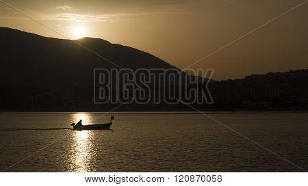 Siluet Of  Fisherman