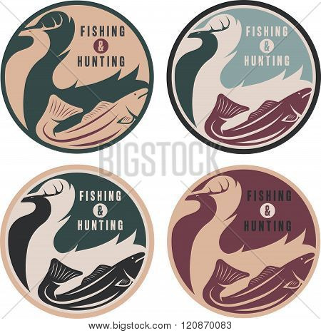 Negative Space Concept Of Hunting And Fishing Theme,vintage Vector Labels
