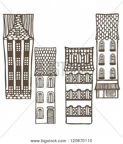Vector Set Of Cute Hand-drawn Tiled Houses