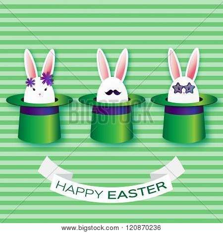 Origami Green Greeting card with Happy Easter - with White Easter rabbit and sunglasses, mustache.