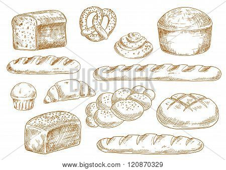 Bread and bakery sketch icons