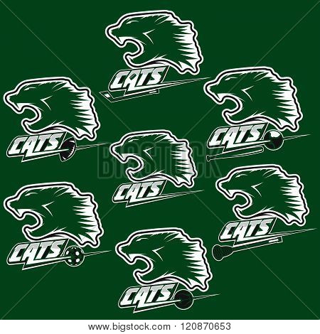 Set Of Wild Cats Sports Vintage Labels