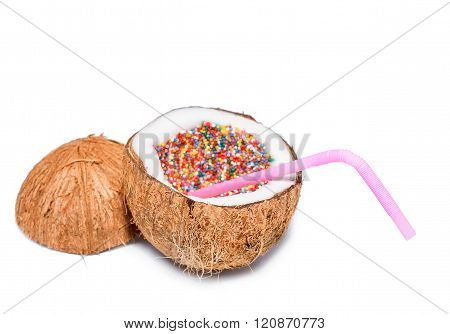 sweet coconut cocktail isolated on white