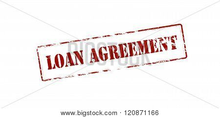 Rubber stamp with text loan agreement inside vector illustration