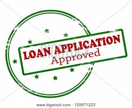 Rubber stamp with text loan application approved inside vector illustration