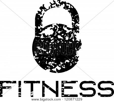 Grunge Kettlebell Vector Design Template . Concept Of Graphic Clipart Work