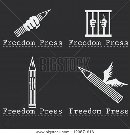 Freedom Press Concept Vector Design Template . Concept Of Graphic Clipart Work