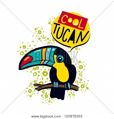 The Phrase Cool And Colorful Toucan Toucan Bird On A Branch In The Jungle.