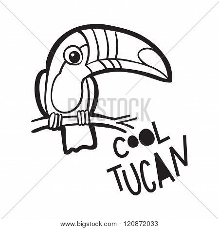 Coloring Book  For Adults. Bird Toucan,  In Cartoon Style. The Phrase Cool Toucan.