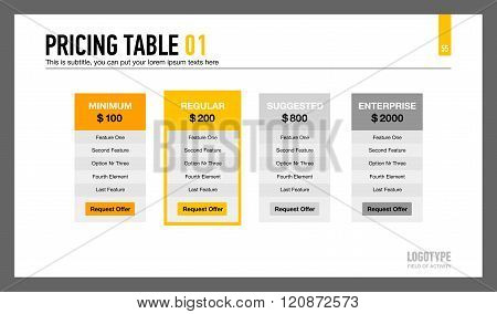 Pricing Table Presentation Slide