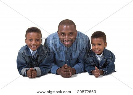 A dad and his 2 sons isolated on white