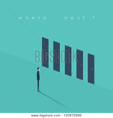 Business decision concept illustration. Businessman standing in front of doors as symbol for choice,