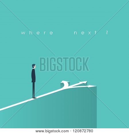 Business decision concept illustration. Businessman standing in front of arrows as symbol for choice