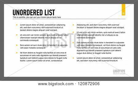 Unordered List Presentation Slide