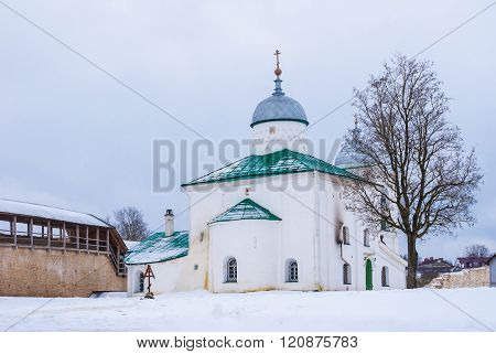 Cathedral and fortress wall in winter scene