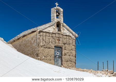 Chapel On The Snowy St. George (Sveti Jure) Mountain - Biokovo Mountain Croatia Europe