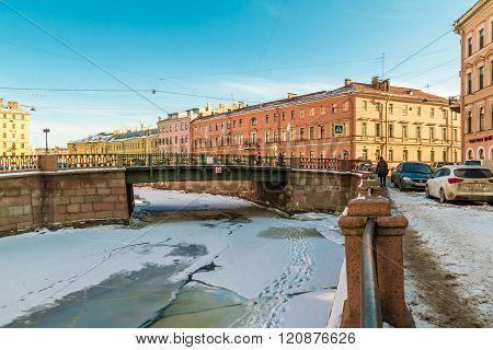 Griboedov Canal and Kokushkin Bridge in winter scene