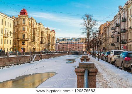 Griboedov Canal in winter scene