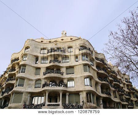 Barcelona, Spain - March 01, 2016: La Pedrera, also known as Casa Mila, by architect Antoni Gaudi.
