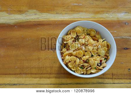 cornflakes in circle bowl on table