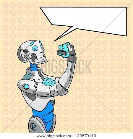 Robot Technology We Can Do It Chat Bubble Pop Art