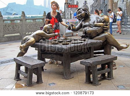 sculpture composition in the center of Chongqing, China
