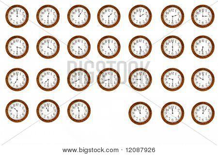 Varias imágenes de tiempo diferente aislados sobre fondo blanco