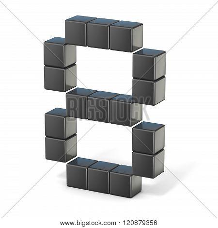 8 bit font. Number 8. 3D