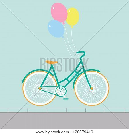 Bicycle with balloons of different colors. Minimalistic flat bicycle illustration. Retro Illustration Bicycle. Vector modern flat illustration of stylish bicycle isolated.