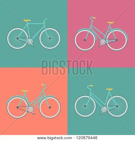 Vector flat modern urban town and city bicycles set. Stylish minimalistic flat vintage bicycle illustration. Retro Illustration Bicycle.