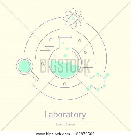 Science icons. Chemical tools and utensils. Laboratory equipment. Chemical test tubes icons. Research and science. Vector Illustration graphic elements for design.