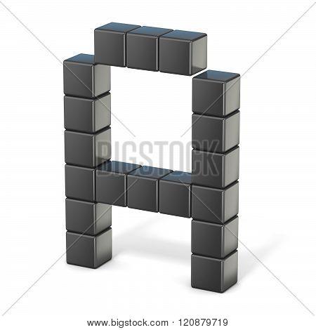8 bit font. Capital letter A. 3D render illustration isolated on white background